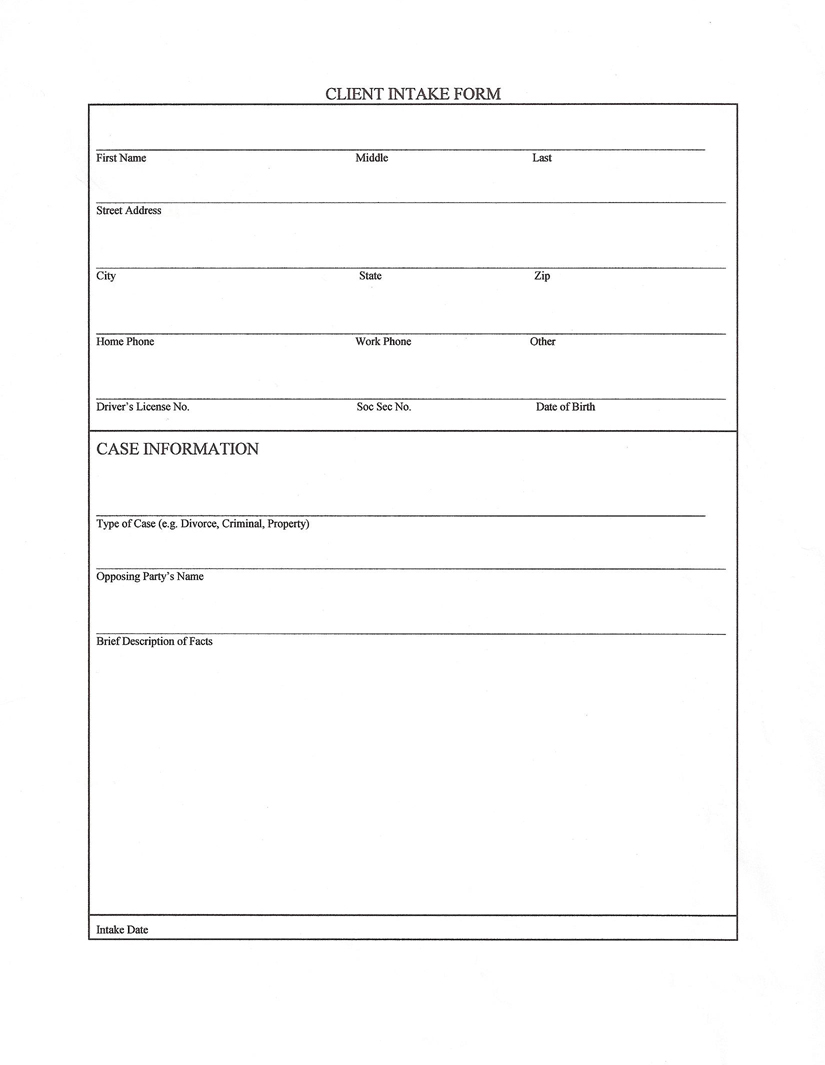 Attorney New Client Intake Form